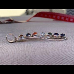 Vintage Jewelry - Delicate silver multi gemstone pendant